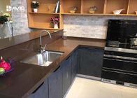 Brown Quartz Stone Countertops / Kitchen Worktops Flat Edge 2+2cm Laminated
